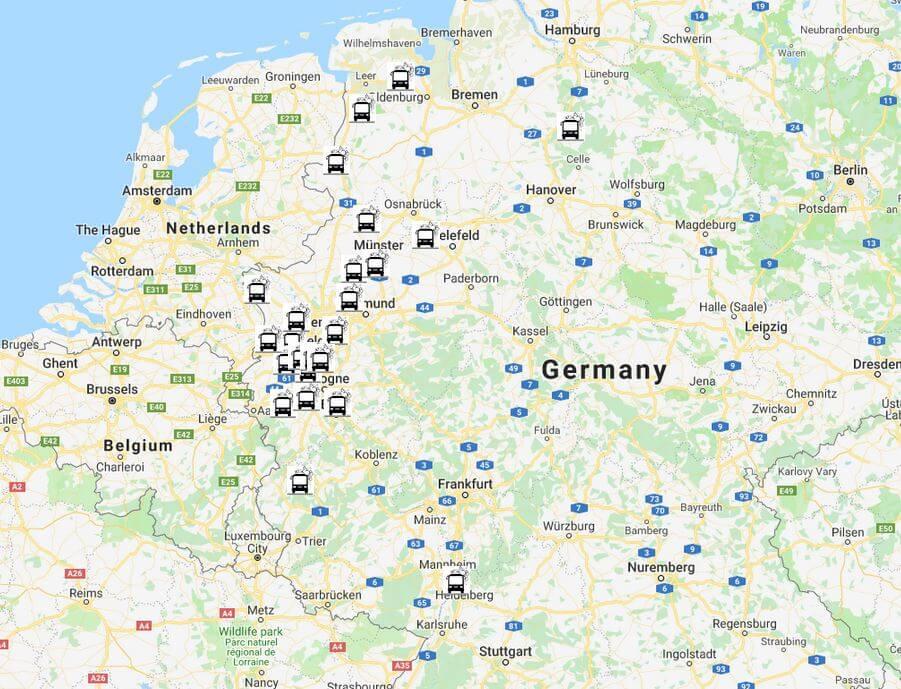 Camperwasplaatsen in Duitsland aan de Nederlandse en Belgische grens