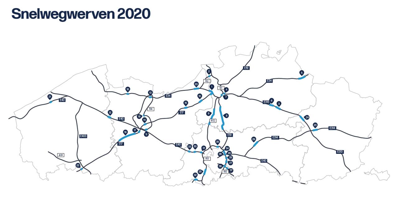 Wegwerkzaamheden België 2020
